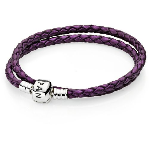Двойной кожаный браслет с замком из серебра Pandora Moments 590705CPE-D1