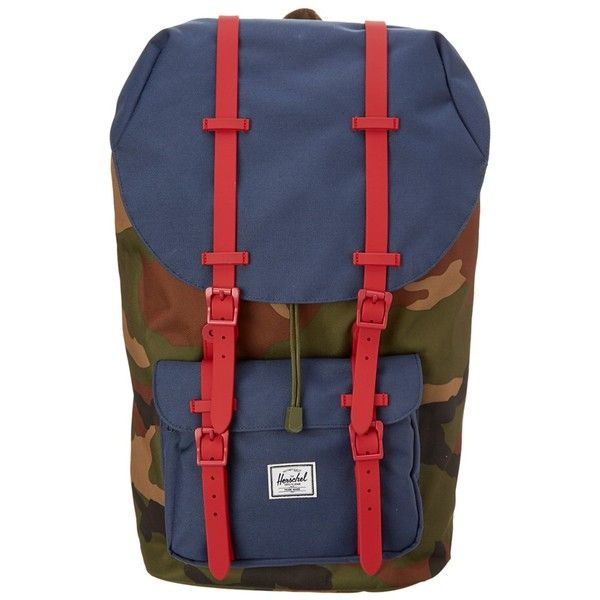 Herschel Herschel Supply Co. Little America Backpack | Bluefly.Com (€61) ❤ liked on Polyvore featuring bags, backpacks, handbags, navy, herschel rucksack, blue camouflage backpack, camouflage backpacks, camo rucksack and blue camo backpack