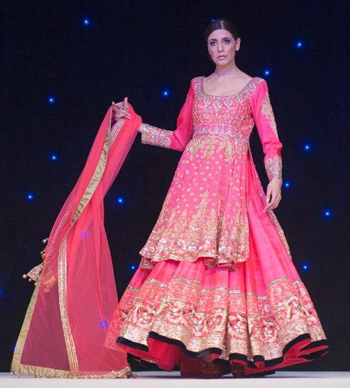 Manish Malhotra pink gold lengha via IndianWeddingSite.com