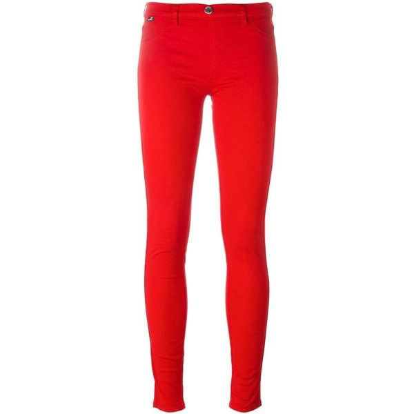 Love Moschino - skinny jeans - women - Cotton/Spandex/Elastane - 27 ($121) ❤ liked on Polyvore featuring jeans, pants, bottoms, red, cut skinny jeans, red skinny leg jeans, denim skinny jeans, elastane jeans and spandex skinny jeans