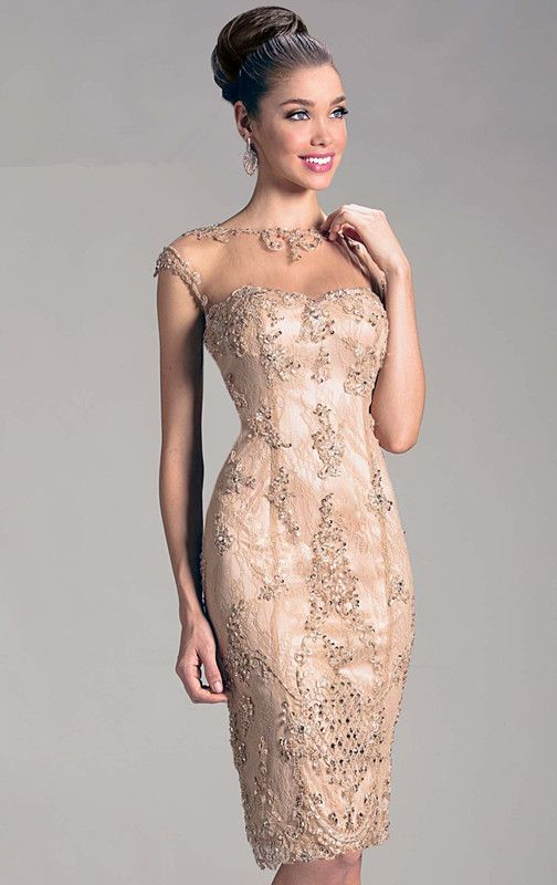 Mother Of The Bride Fall Dresses 2015 Cap Sleeves Sheer