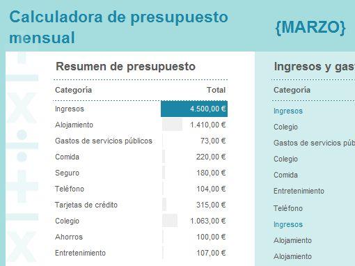Calculadora de presupuesto mensual