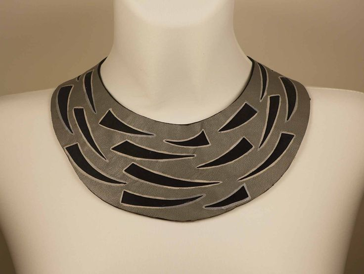 Gray & Black Leather Collar