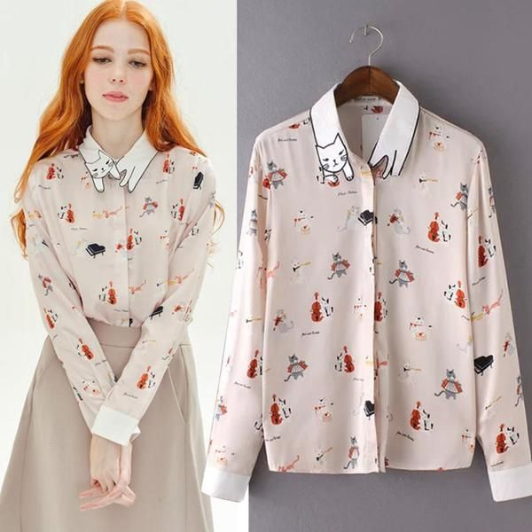 Kittens funny lapel cartoon print long-sleeved shirt YV2191 #2017 #lates #Asainfashion #jfashion #harajuku #cute #kawaii #kfashion #onlinestore www.youvimi.com we are offer worldwide shipping US 7-15 delivery the other country 1-3 weeks to arrival in work day with tracking number, Sponsor affiliate program open email youvimicute@gmail.com