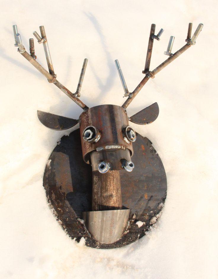 Deer Head Scrap Metal Sculpture. Wall Mount for Cabin or Home Decor.