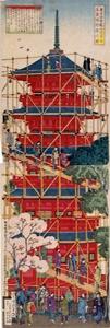 Sensoji Temple construction, Tokyo (18860 ukiyoe