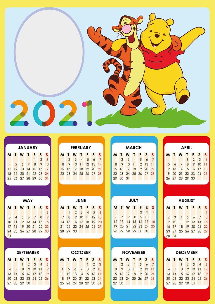 Calendar 2021 Winnie The Pooh Calendar for 2021 Cartoon ...