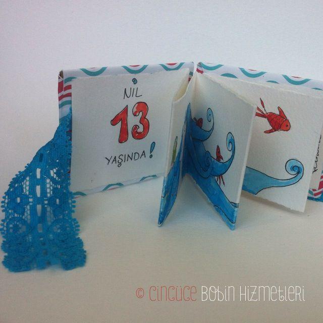 """""""Mavi Saçlı Kız"""" Cincüce'nin minyatür kitapları / akordeon kitap The Girl with Blue Hair: Handmade miniature acordeon book."""