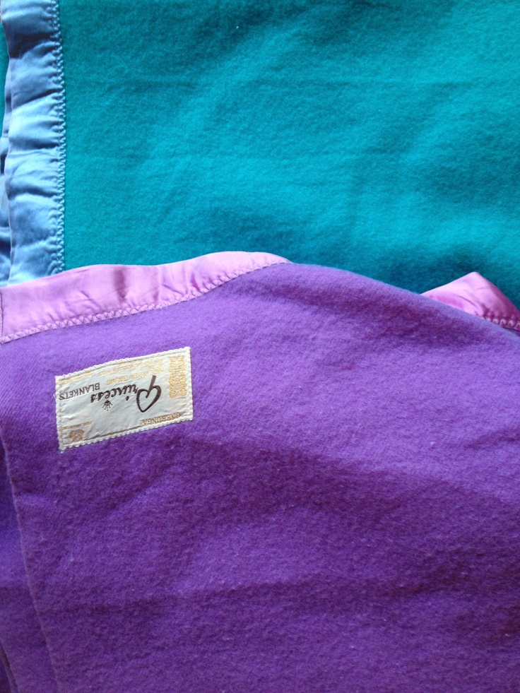 Purple and turquoise 100% retro wool blankets, made in New Zealand.