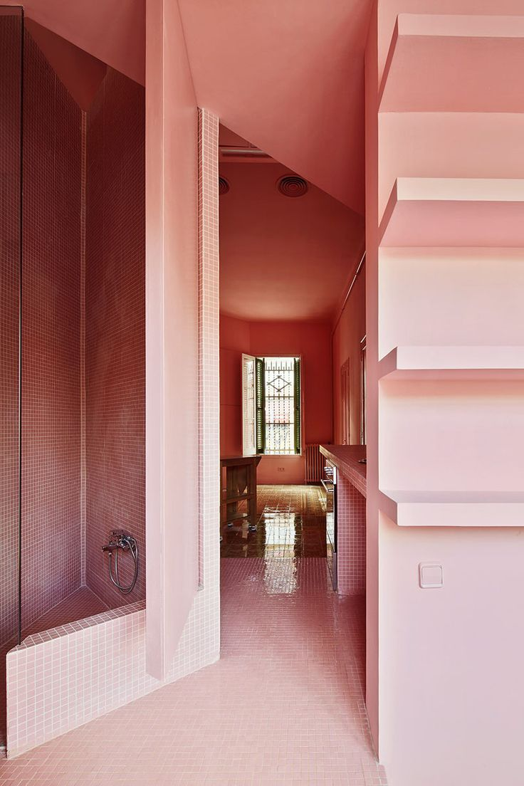 Pink Bathroom In The Barcelona Home Of Spanish Designer Guillermo Santomà
