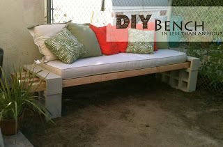 DIY Outdoor Bench - in less than an hour. Need 12 cinder blocks and 4 - 4x4x10 pieces of lumber to slip in the openings of the cinder blocks.  Find cushions and pillows to add your own color / patterns.
