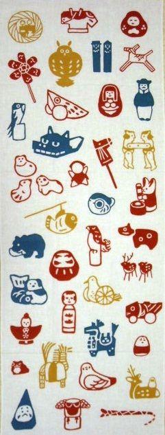 先日ご紹介した丸善のオリジナル手ぬぐいの「ふるさとみやげ」。 何が描かれているのか書き出してみたいと思います。 左上から右へ。・桟俵流し雛(鳥取県鳥取市)・真…