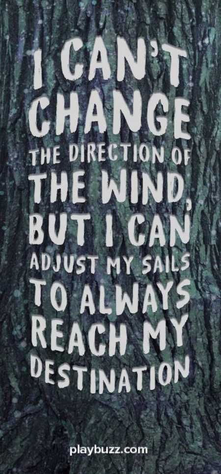 I can not change the direction of the wind, but I can adjust my sails to always reach my destination.