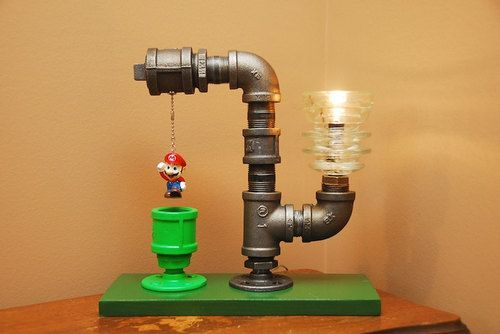 Mario Bros. Theme Industrial Pipe Lamp By - TRoweDesigns