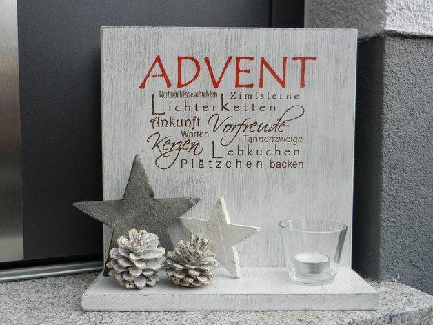 Deko-Objekte - Holzschild mit Ablage Advent shabby chic - ein Designerstück von Pfeifers-Holzwerkstatt bei DaWanda