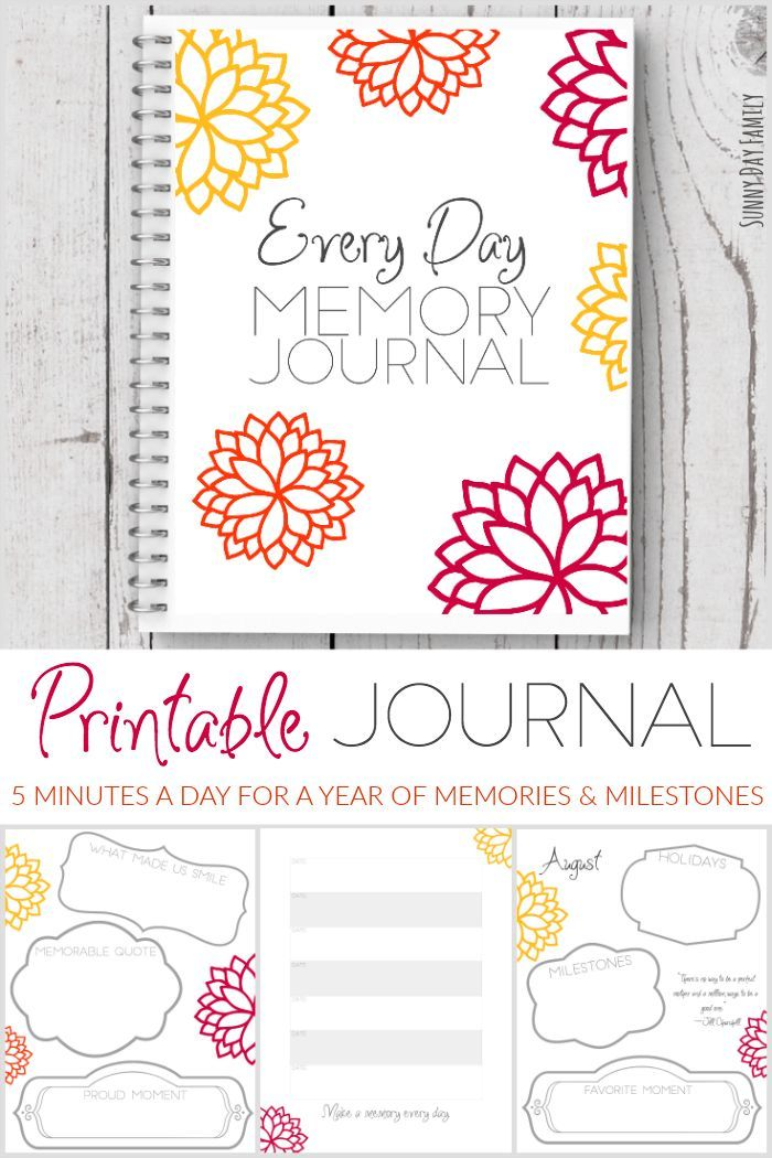 Capture the precious every day moments in just 5 minutes a day with this printable memory journal! Record a lifetime of memories with this lovely journal - sure to be a treasured keepsake. Makes an awesome gift for new moms!