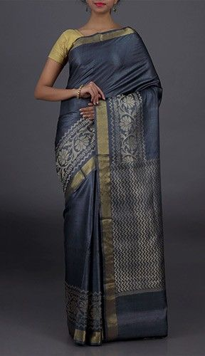 Sana Full Bloom Bel Border Wave Pallu Smart Hand Woven Kosa Silk Saree