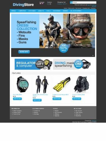 Diving Store OpenCart Free Theme Template is specially designed for diving`s products. Garmonical colors combination of cyan and black with white background is the best decorate for Computers Consoles, Regulators Cylinders, BCD Gilletes, Wetsuits, Fins, Masks Snorkel. It is very nice with its clean and professional look.