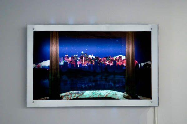 "Daniel Leyva, ""window.gif,"" 2011. Rear-illuminated digital print on mirror with animation. 319 Scholes."