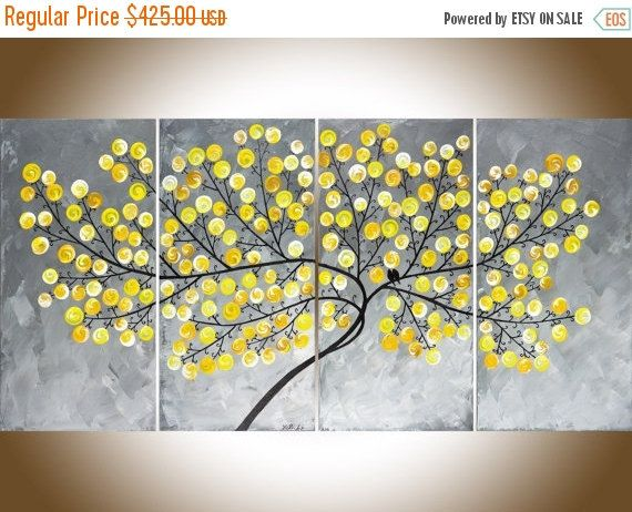 "❘❘❙❙❚❚ ON SALE ❚❚❙❙❘❘     ***TITLE: ""Missing You Already  ***SIZE: 4 x 12 x 24 x 0.8 (total size: 48 x 24 x 0.8)  ***THEME: Swirl tree leaves on tree branches.  ***MEDIUM: Professional grade acrylics or oils on stretched canvas. The sides are painted black, so theres no need to frame it. A coating of varnish is applied to protect the painting.  ***SHIPPING: Canada Post Expedited to US or Canada. Your art will be shipped to you professionally packed with protective packaging material. If you…"