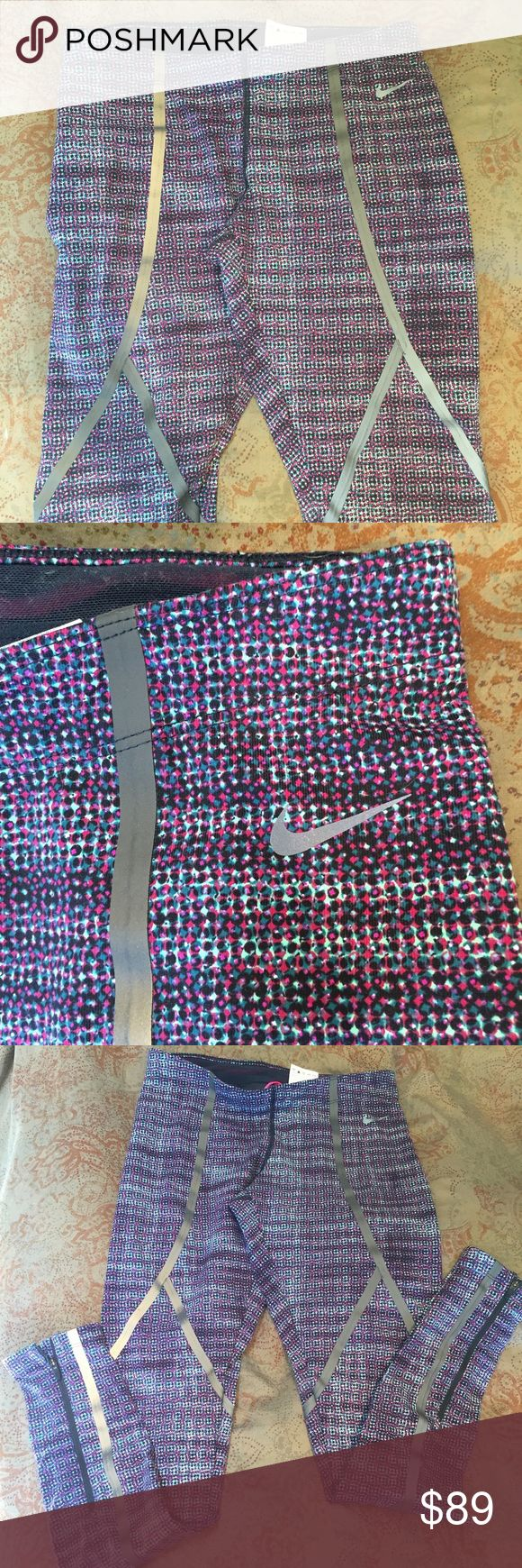 Nike Running Tights Fuschia/Black/Turquoise Dot Worn twice, EUC. Full length. See description for the black and white pair! Nike Pants Leggings
