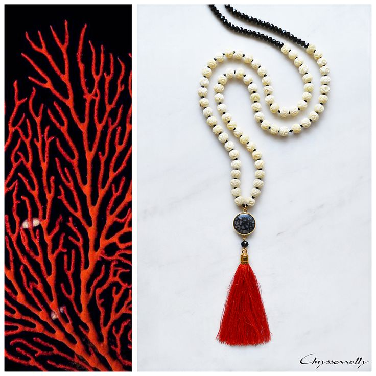 JEWELRY | Chryssomally || Art & Fashion Designer - Beautifully carved bone beads with black and red accents on a unique boho luxe necklace