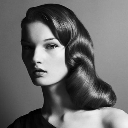 Wavy hair (down)--tons more images on the site. Kind of like Veronica Lake