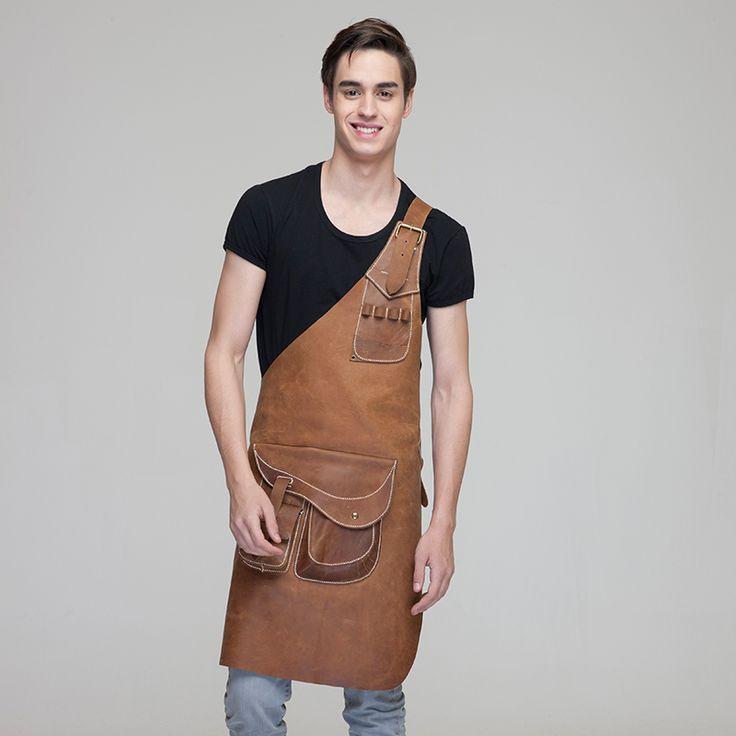 2015 товар широкого спроса  висит шеи фартуки рубашка  Шеф повар   ресторан гостинца кухня  100%  кожа  мода универсальный мужчин и женщин черный купить на AliExpress