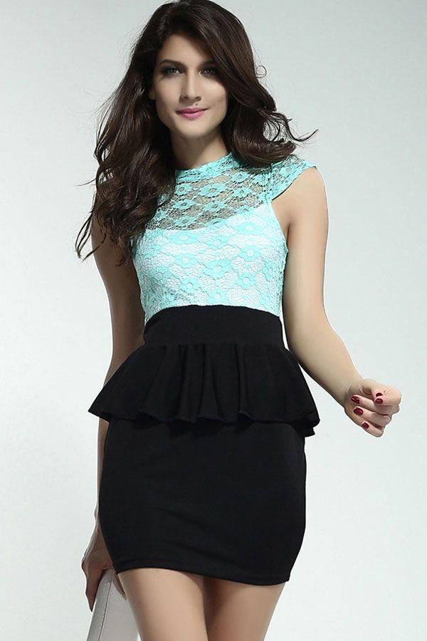 Celestial Mint Green Floral Lace Black Peplum Dress - $14.12