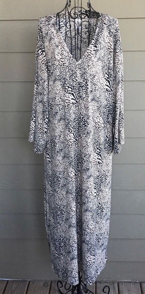 82b969c155bb Natori Animal Print Leopard Caftan Gown Maxi Stretch Size Medium #Natori  #Caftan