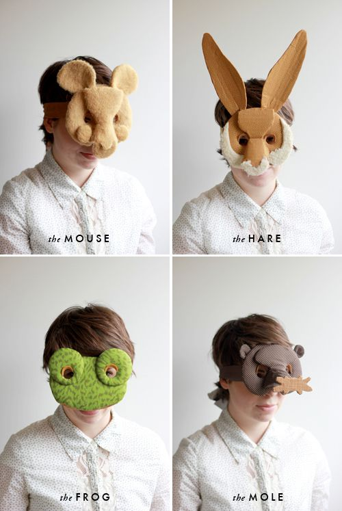 DIY masks. Hare, mouse, frog, mole, squirrel, chipmunk, badger, blackbird, bluebird, hedgehog