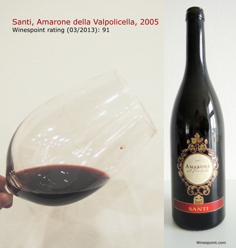#Amarone della Valpolicella, 2005, #Santi #rating is brought to you by #Winespoint.com