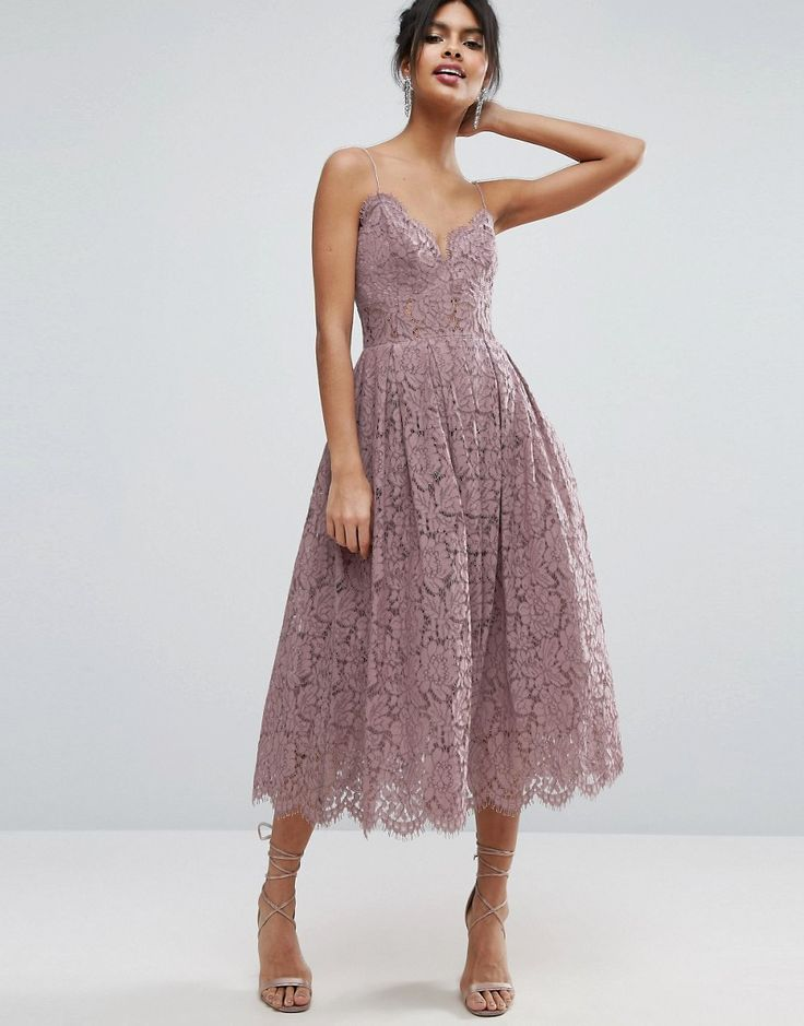 ASOS Lace Cami Midi Prom Dress - Purple by: ASOS @ASOS (US)