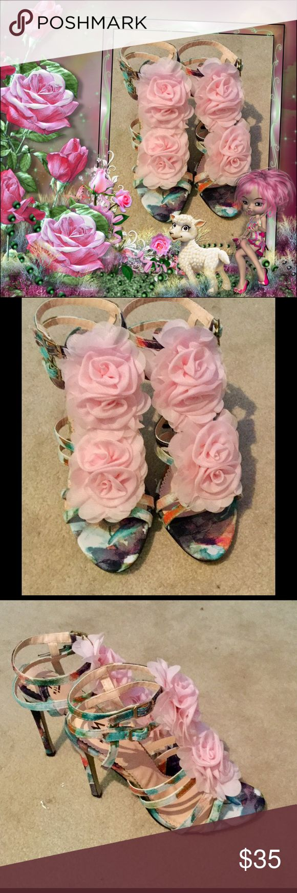 Floral strappy heels Madison by Shoe dazzle...floral heels, never worn❤️ Shoe Dazzle Shoes