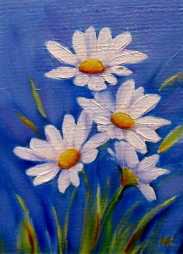 I love Daisies! They're one of my very favorite flowers! Spring Delight5x7 oil, painting by artist Meltem Kilic