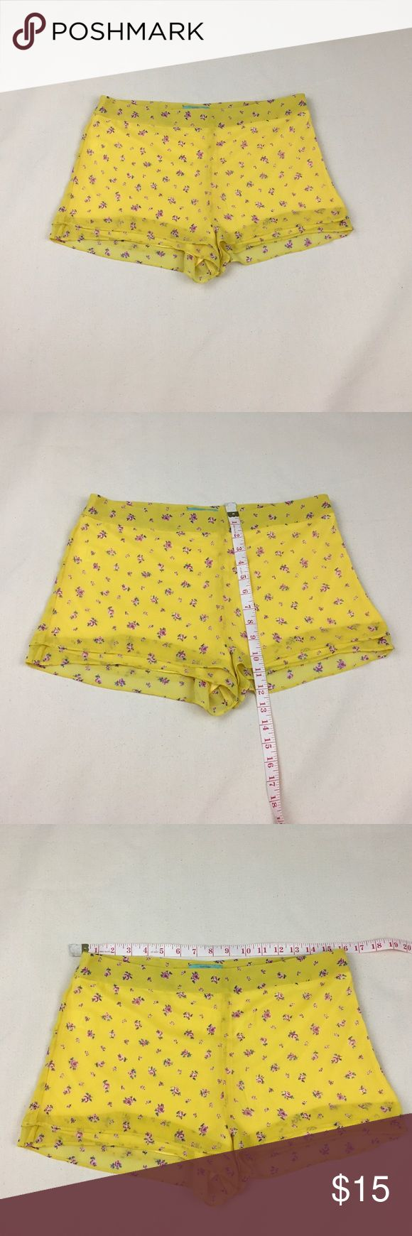Sugar mint VTG women lined shorts L side zipper Sugar mint VTG women lined shorts L side zipper and hook-eye. Light weight yellow with cutie flowers. So sexy gorgeous look n yet comfortable. Smoke pet free. No tear rip holes stains. Sugar Mint Shorts