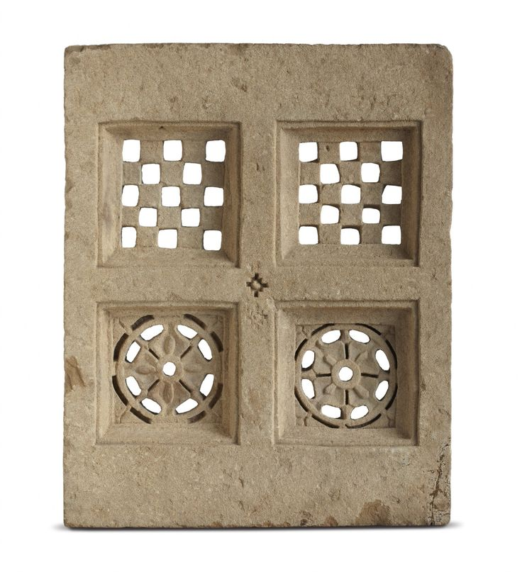 This square-shaped sandstone screens, usually carved from a single block are common features in windows, #jharokhas and balconies of secular architecture of 19th century Rajasthan, Gujarat and Punjab. In the context of Rajasthan, such screens were usually affixed to the windows, serving to secure the opening and allowing ventilation. This is seen in the area around the artwork Touche by #RajeevSethi.