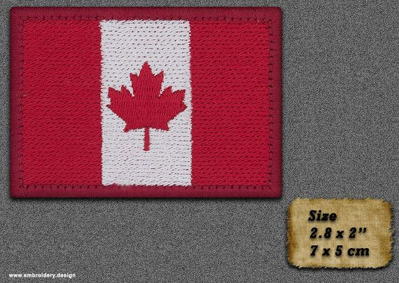 5 QTY Patch Flag of Canada with a red border IRON ON by EmbroSoft