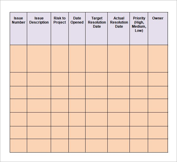 Issue Log Templates 6 Free Word Excel Pdf Formats Words