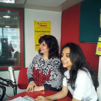 Discussing the book 'Social Potpourri - An Anthology', on Radio Mirchi (98.3) F M, at Lucknow are Kriti Mukherjee and Sulekha Rawat of @Social Potpourri