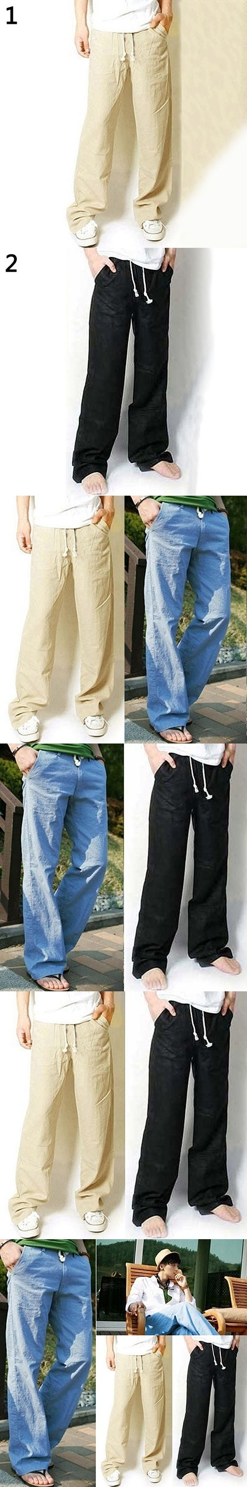 New Arrival Men's Fashion Casual Loose Drawstring Waist Solid Linen Trousers Beach Pants