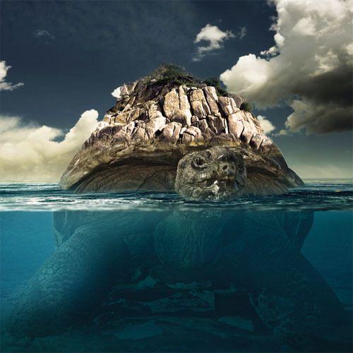 Гигантская черепаха в Фотошоп