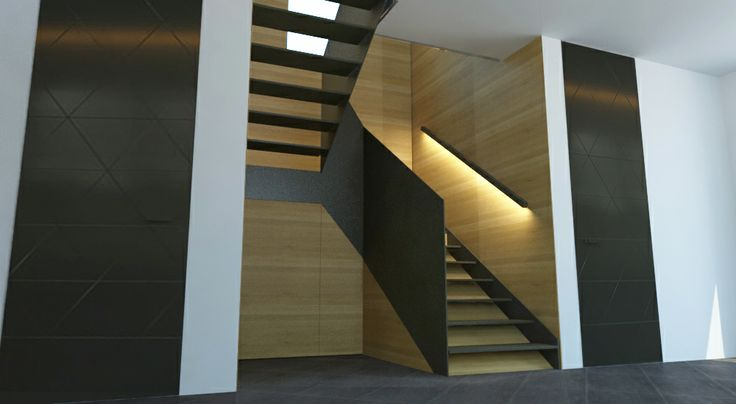 black steel and solid oak staircase