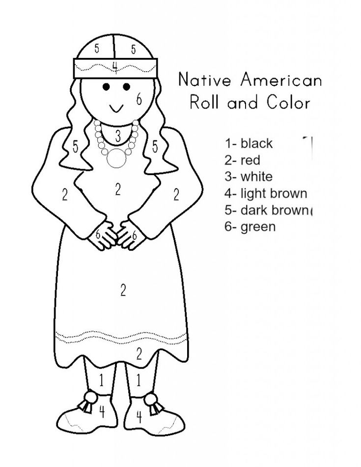 native american coloring pages for preschool | color by number native | Worksheets for kids, Preschool ...