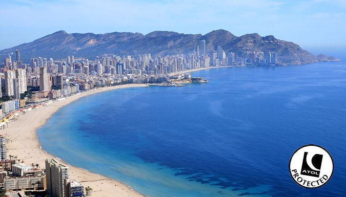 Benidorm, Spain: 3-7 Night Half Board Hotel Stay With Flights - Up to 35% Off Grab a golden beach break in Benidorm for 3, 5 or 7 nights      Stay at the La Estacion Hotel or Hotel Sun Palace Albir Lounge  and  Spa      Wine and dine at the in-house restaurants with breakfast and dinner included      Take a tip in one of the hotel pools and chill in the Spanish sun      Both hotels offer spa...