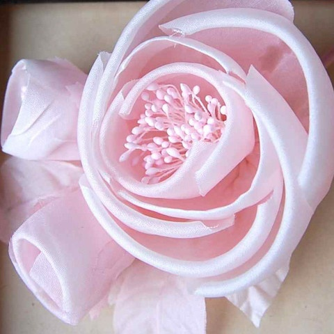 """This """"Dior"""" type rose is hand cut, rolled, and assembled from silk fabric.    Delicate and very pretty, perfect for a Spring or Summer Wedding.     This bunch measures 6"""" long with 1 large Rose, 2 buds, and 5 leaves."""
