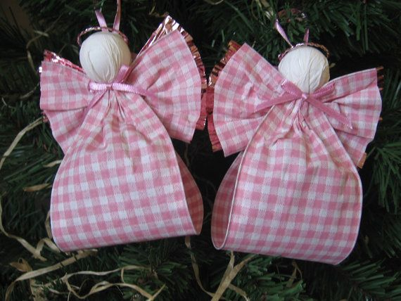Angel Christmas Ornaments Pink and White Plaid
