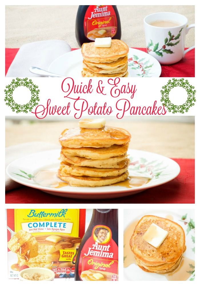 Sweet Potato Pancakes are perfect for family holiday breakfast and brunch get togethers. Aunt Jemima gives me a head start and I don't spend all morning in the kitchen. My not-so-secret ingredient is baby food sweet potatoes! Yum! #12DaysofPancakes AD