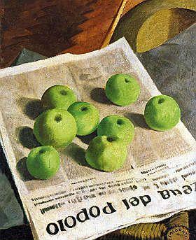 """Felice Casorati, Mele (Le mele) sulla """"Gazzetta del Popolo"""", 1928, olio su cartone, cm. 59x49,8, Roma, Galleria Nazionale d'Arte Moderna#EasyNip"""