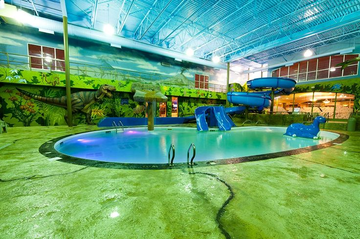 Unique to our Winnipeg hotel, Dino Beach Water Park will transport your family back in time to the Jurassic period. Surrounding the pool are murals of trees and volcanoes enhanced with two life sized 3 dimensional dinosaurs and a rock façade surrounding the beach style pool entryway.